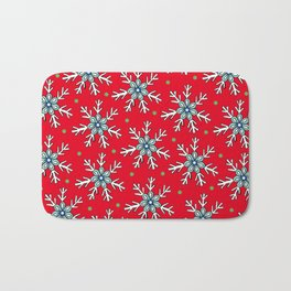 Snowflakes on Red Bath Mat