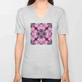 Watercolors pink medieval kaleidoscope Unisex V-Neck