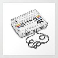cassette Art Prints featuring Cassette by Sonia Puga Design