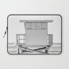 Lifeguard Hut, Black and White, Beach Wall Art Laptop Sleeve