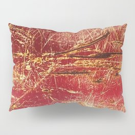 Rusted Gold and Red Abstract Landscape Pillow Sham