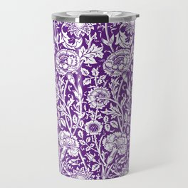 """William Morris Floral Pattern   """"Pink and Rose"""" in Purple and White Travel Mug"""