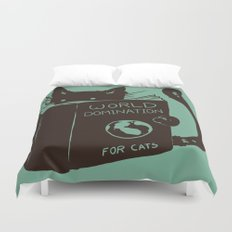 World Domination for Cats (Green) Duvet Cover