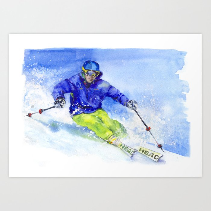 Watercolor skier, skiing illustration Art Print