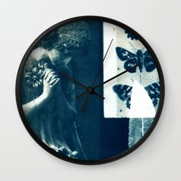 Fragments of the Past (32), art print, collage, blue print, cyanotype print, wall art, wall decor Wall Clock
