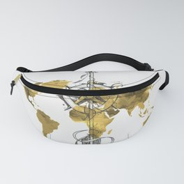 Gold World Map 2 Fanny Pack