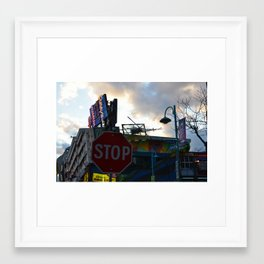 Stop Sign and King Kong Framed Art Print