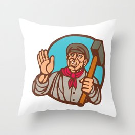 Union Worker With Sledgehammer Linocut Throw Pillow