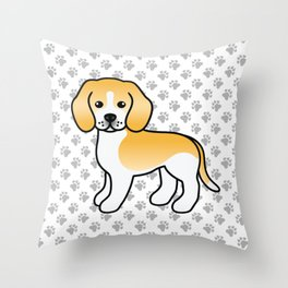 Cute Lemon And White Beagle Dog Cartoon Illustration Throw Pillow