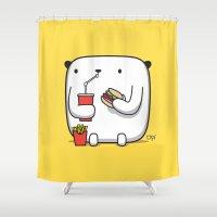 hamburger Shower Curtains featuring OPI HAMBURGER by MostrOpi