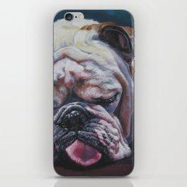 ENGLISH BULLDOG dog portrait painting by L.A.Shepard fine art iPhone Skin