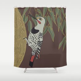 Flicker Bird and Botanical Illustration Art Series Shower Curtain