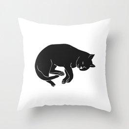 Sleepy Cat takes a nap | Linocut Throw Pillow