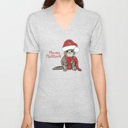 Cat Lover's Meowy Christmas Santa Cat Unisex V-Neck