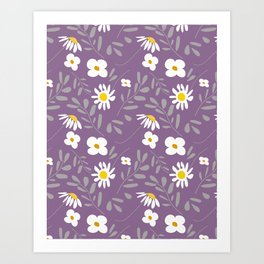 Joyful Folk Floral : Purple Art Print