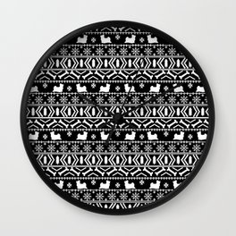 Biewer Terrier fair isle christmas black and white pattern minimal dog breed pet designs Wall Clock