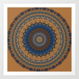 Rust Blue Mandala Design Art Print