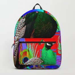 GREEN PEACOCKS & RED-PURPLE  MODERN ART Backpack