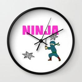 Birthday Ninja Party Samurai Ninjas Gift Japanese Ninja stars Fighter Gift 12 Wall Clock