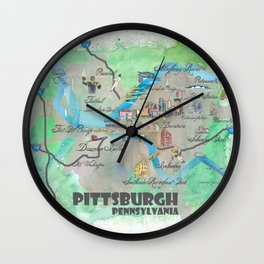 Pittsburgh Pennsylvania Fine Art Print Retro Vintage Map with Touristic Highlights Wall Clock