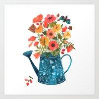oana befort Art Prints featuring Garden Flowers by Oana Befort