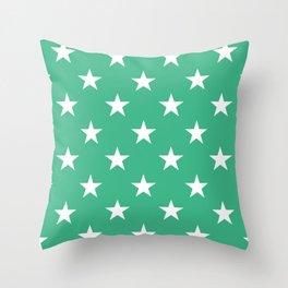 Stars (White/Mint) Throw Pillow