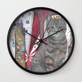 """Cat and apple tree""  Illustrated print Wall Clock"