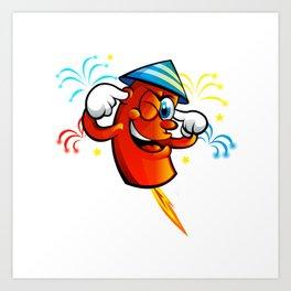 Red Cartoon fireworks  Art Print