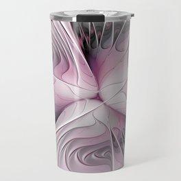 Fantasy Flower, Pink And Gray Fractal Art Travel Mug