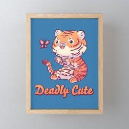 Deadly Cute Tiger // Kawaii, Big Cat, Animals Framed Mini Art Print