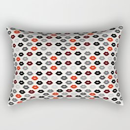 Retro Lips - Red, Grey and Black Pattern Rectangular Pillow