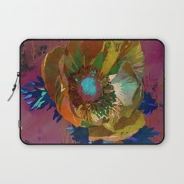 Yellow Gold Anemone Flower Art | Watercolor Floral Art Print | Gold Russet Pink Floral Wall Decor Laptop Sleeve