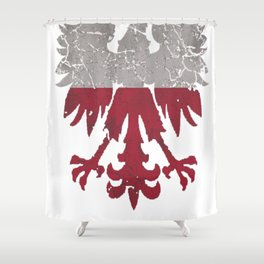 Vintage Polish Flag White Eagle Distressed T Shirt Shower Curtain