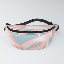 Island Love Coral Pink on Pale Blue Fanny Pack