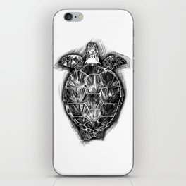Sea turtle. Black and white. iPhone Skin