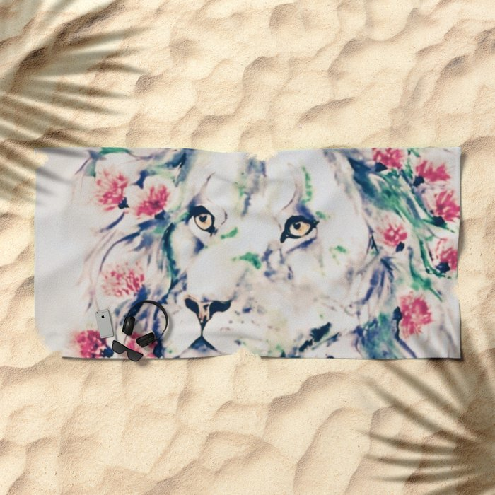 Floral lion Beach Towel