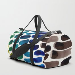 Colorful Watercolor Scales Rainbow Pattern Blue Green Olive Yellow Ochre Duffle Bag
