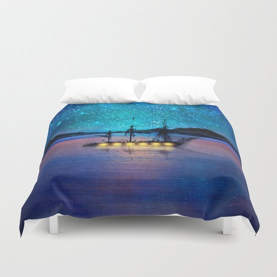 Ship in the lights Duvet Cover