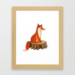 Silly Cute Fox, foxy, illustration, watercolor, wood, adorable, children, kid, decoratin Framed Art Print