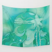 mermaid Wall Tapestries featuring Ocean Queen by Graphic Tabby
