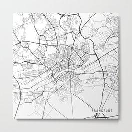 Frankfurt Map, Germany - Black and White Metal Print