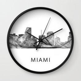 Miami Florida Skyline WB BW Wall Clock