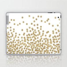 Gold Glitter Dots in scattered pattern Laptop & iPad Skin