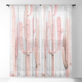 Coral Marble Cactus Watercolor Painting Sheer Curtain