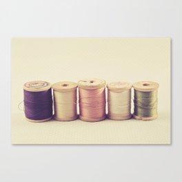 Soft Wooden Spools Canvas Print