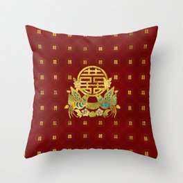 Gold Double Happiness Symbol with  birds Throw Pillow