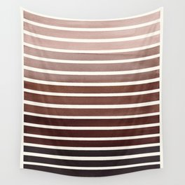 Watercolor Gouache Mid Century Modern Minimalist Colorful Raw Umber Stripes Wall Tapestry