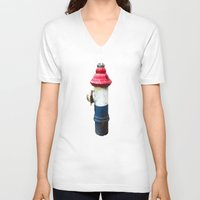 patriotic V-neck T-shirts featuring Patriotic Hydrant by Cwilwol