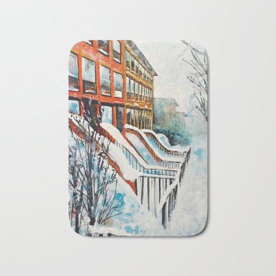 Brooklyn New York In Snow Storm Bath Mat