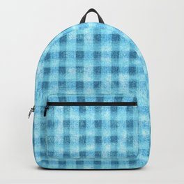 Aqua Blue Velvety Gingham Plaid Texture Backpack
